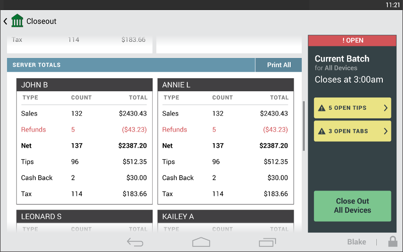 The Closeout app submits a batch of card transactions to be processed.